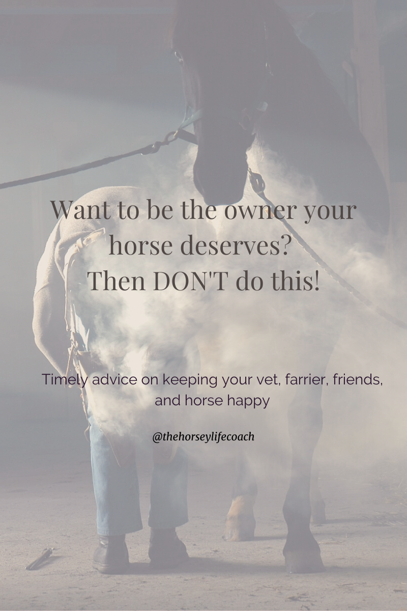 If you don't want to drive your horse, your vet, your farrier and all of your friends crazy – DON'T do this